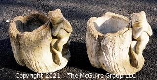 "Pair of Vintage Cement Planters in the Form of Tree Stumps with Frogs.  Measure approximately 13"" tall."