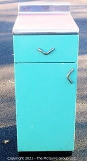 "Vintage Blue Metal Cabinet with Red Linoleum and Chroma Edge Top.  Measures approximately 24D x 15W x 36""T"