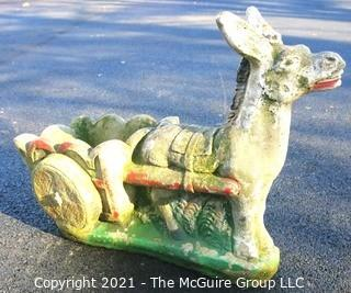 "Vintage Donkey with Cart Cement Planter.  Measures approximately 28"" x 20"