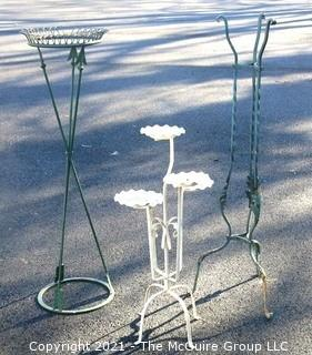 "Three Vintage Outdoor Wrought Iron Garden Decorative Plant Stands.  The Tallest measures approximately 44"" tall."