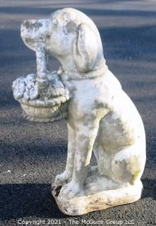 "Vintage  Dog With Flower Basket Cement Outdoor Garden Statue.  Measures approximately 24"" tall."