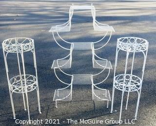 Vintage Three Piece Set of White Wrought Iron Decorative Plant Stands.