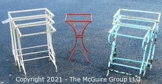 Two Sets of Three Wrought Iron Nesting Tables and Small End Table.  All Missing Top Inserts.
