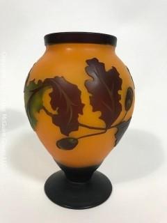 Art Nouveau Galle Style Cameo Cut Glass Vase with Acorn Design.