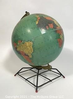 Vintage 12 Inch Replogle Reference Globe on Metal Mid Century Modern Stand.