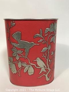Vintage Reynolds Aluminum Trash Can, Pink with Birds.