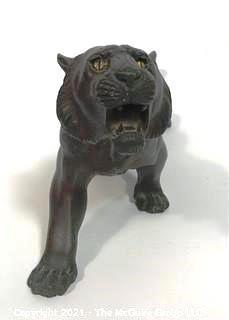 Vintage Bronze Tiger with Yellow Eyes with Asian Makers Mark on Belly.