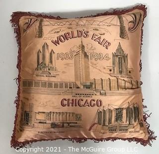 Vintage Souvenir Satin Pillow from Chicago World's Fair 1933/1934.