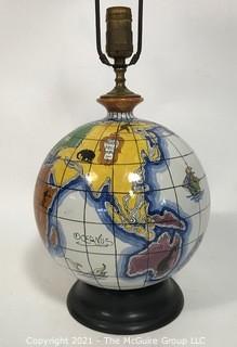 Zaccagnini Hand Painted Italian Modern Art Pottery Globe Lamp, circa 1950