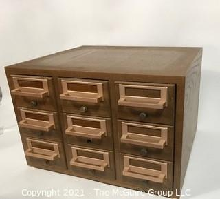 Vintage Wooden Library File Cabinet with Plastic Drawer Inserts.