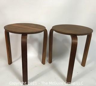 Pair of Teak Mid Century Modern MCM Bentwood Nesting Stools.