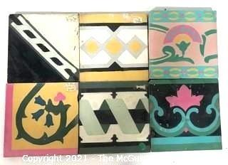 (6) Vintage Cement Hand Poured Floor Tiles in Various Geometric Designs, From France.