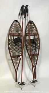Vintage Set of Wood Snow Shoes with Poles.