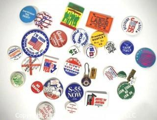 Group of Pollical Buttons and Pin Backs.