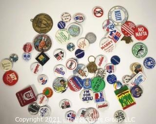 Group of Vintage Political Buttons and Pins.
