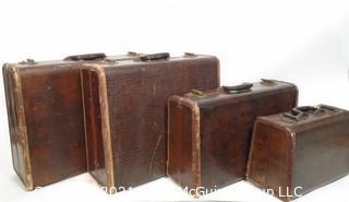 4 Piece Set of Vintage Samsonite Alligator Pattern Luggage Set