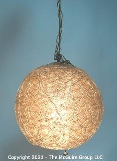"Vintage Mid Century Modern Lucite Ball Hanging Swag Lamp or Chandelier. Measures approximately 14"" in diameter."