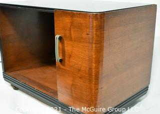 "Vintage Mid Century MCM Wood Coffee or Side Table with Open Shelf. It measures approximately 27"" long."