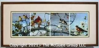 "Framed Needlepoint and Embroidery Artwork of Birds.  Measures approximately 17 1/2"" long"