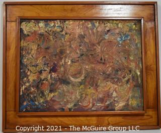 Original Abstract Mid Century Modern Oil on Canvas in 3-Dimensional Wood Frame.  On the back of the canvas it is signed Frederick Blakeslee with his address.