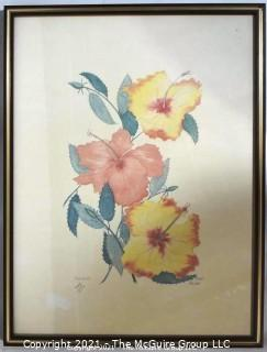 "Framed Under Glass ""Hibiscus"" Print, Signed and Numbered by Artist Pat Moran.   Measures approximately 25"" x 19""."