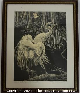 Framed Under Glass Black & White Lithograph Print of American Egrets Pencil Signed and Numbered by Artist Dick Bernard.