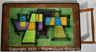 "Mid Century Modern Tile Art Framed in Wood Tray with Handle Signed by Artist.  Measures approximately 30"" x 16""."