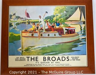 "Framed Under Glass ""The Broads, It's Quicker By Rail""  Norfolk Broads Railway Poster.  Measures approximately 23"" x 27""."