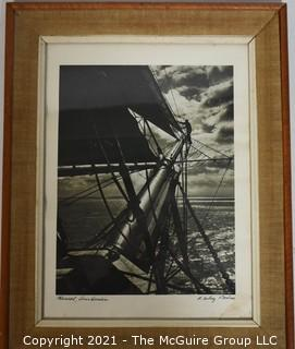 "Framed Under Glass Signed Photograph Entitled ""Main Sail, Dois Hamlin"" by A. Aubrey Bodine. It measures approximately 16"" x 20""."
