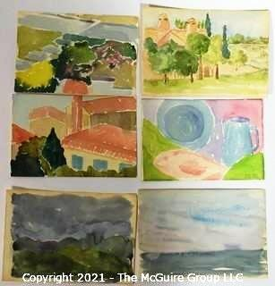 "Set of 6 Small Original Unframed Watercolors by Local Artist.  Each Measures approximately 4"" x 6""."