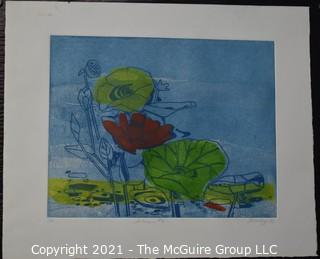 "Original Unframed Color Print by Joan Miller Linsley (American, 1922-2000). Lotus #2 Signed and Dated 1973. Measures approximately 25"" x 20""."
