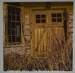 "Unframed ""Oklahoma Door"" Serigraph Signed and Numbered on Woven Paper, Part of Backroads America Series by Michael Judge with Certificate of Authorization. Measures approximately 12"" x 13""."