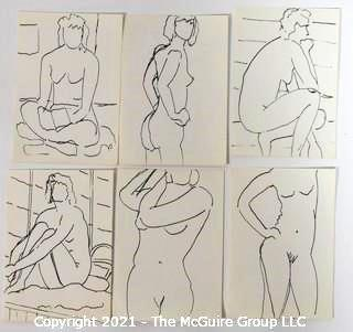 "Set of 6 Small Original Unframed Black & White Pen and Ink Nudes by Local Artist.  Each Measures approximately 4"" x 6""."