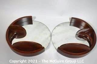 "Vintage Mid Century Art Deco Style Round Wall Mirror Set Made by Rockford Scroll Products.  They measure approximately 10"" in diameter"