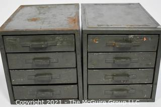"Pair of 4 drawer metal boxes; each 5 1/2""W x 8 1/2""D x 6""T"