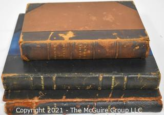 Collection of 3 Leather Bound Books in French and Italian