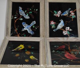 (4) Glass Mosaic Ornithological Works of Art