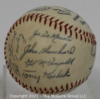 Baseball; Autographed: replica: by many of the mid 20th c stars; all believed to be signed with same pen, thus a souvenir