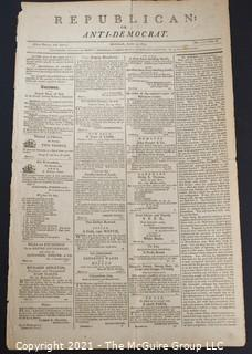 "1803 ""Republican; or, Anti-Democrat"" Newspaper; published by Charles Prentiss, Baltimore"