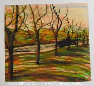 "Unframed Landscape Watercoler, signed; 10 x 10"""