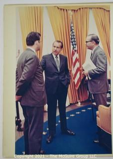 Color WH Photo of President Nixon with Journalist Clifford Evans and Press Secretary Ron Zeigler; 11 x 14""