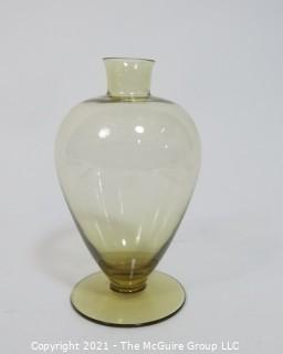 "Hand Blown Amber Green Venetian Glass Vase.  Measures approximately 8"" tall."