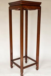 """Tall Wooden Mahogany Plant  Stand or Table; 36""""T x 12"""" square."""