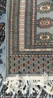 Hand Woven & Knotted Rug on White Ground; 6' x 9'