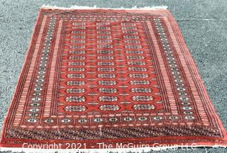 Hand Woven & Knotted Rug on Red Ground; 4' x 6'
