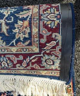 """Hand Woven & Knotted Runner on Blue Ground.  Measures approximately 2'4"""" x 18'8""""."""