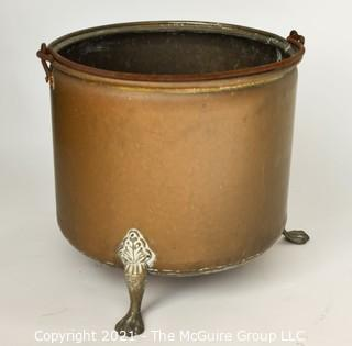"Large Copper Pot with Brass Feet; 16""T x 16"" Diameter"