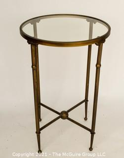 "Tall Glass Top & Brass Table,  It measures approximately 17"" diameter x 26""T"