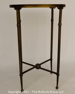 """Tall Glass Top & Brass Table,  It measures approximately 17"""" diameter x 26""""T"""