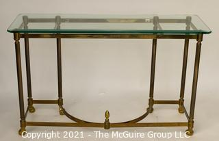 "Brass and Glass Console Table; 42""W x 27""T"